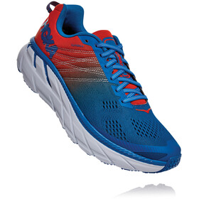 Hoka One One Clifton 6 Running Shoes Herre mandarin red/imperial blue